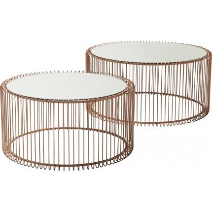 Tables basses Wire cuivre 2/set Kare Design