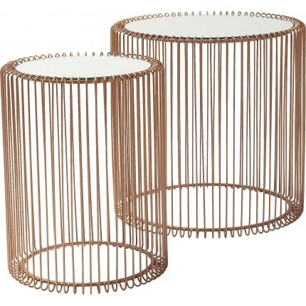 Side Table Wire Copper (2/Set) Ø44cm Kare Design