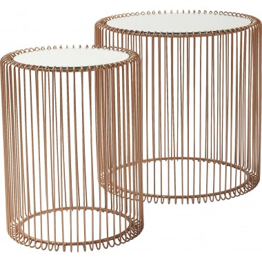 Side Table Wire Copper (2/Set) Ø44cm Kare Design