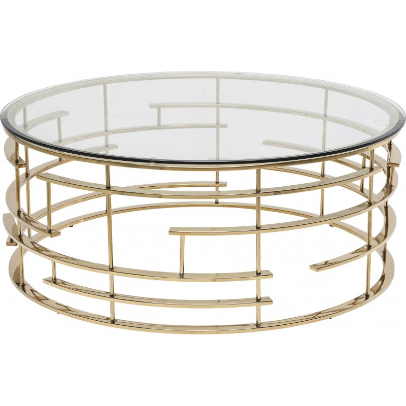 Round Retro Gilded Coffee Table 100cm Tempered Glass Coffee Table