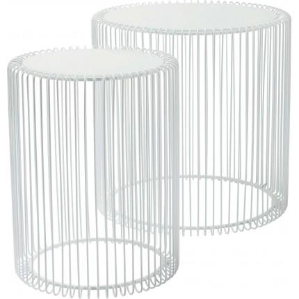 Side Table Wire White (2/Set) Ø44cm Kare Design