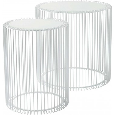 Tables d'appoint Wire blanches set de 2 Kare Design