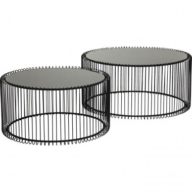 Table basse ronde Wire noir 2/set Kare Design