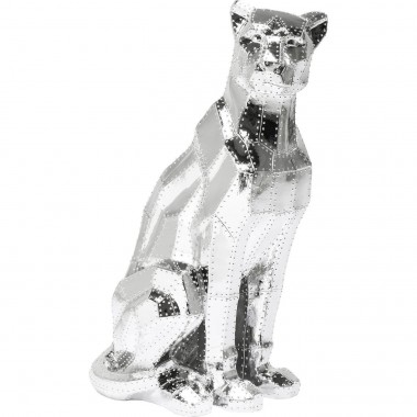 Deco Figurine Sitting Cat Rivet Chrome Kare Design