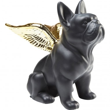 Deco Figurine Sitting Angel Dog Gold-Black Kare Design