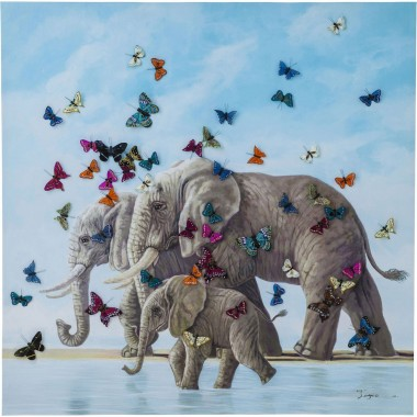 Picture Touched Elefants with Butterflies 120x120 Kare Design