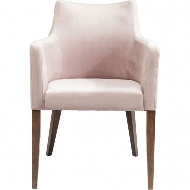 Chair with Armrest Mode Velvet Mauve Kare Design