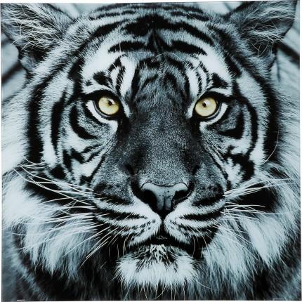 Picture Glass Face Tiger 80x80cm Kare Design