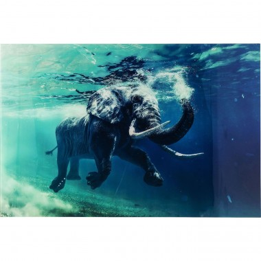 Tableau en verre Swimming Elephant Elephant 80X100 Kare Design