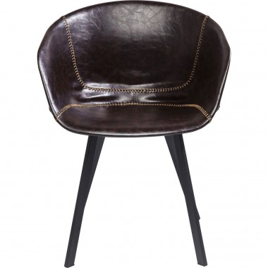 Chair with Armrest Lounge Brown Kare Design