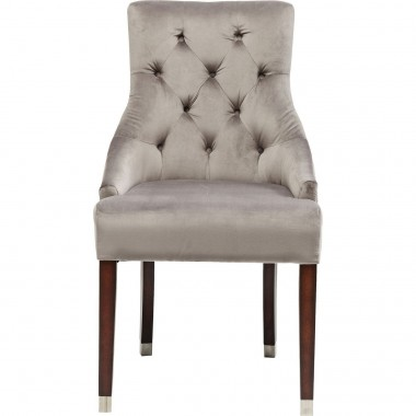 Chair with Armrests Prince Velvet Grey Kare Design