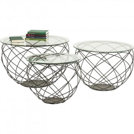 Coffee Table Wire Grid Black (3/Set) Kare Design