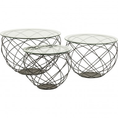 Coffee Table Wire Grid Black (3/Set) Kare Design