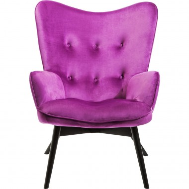 Armchair Black Vicky Velvet Purple Kare Design