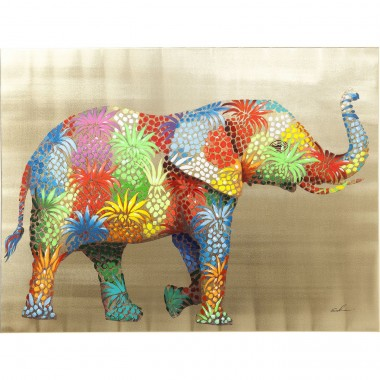 Picture Touched Flower Elefant 90x120cm Kare Design