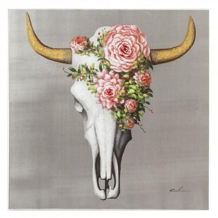 Tableau Touched Flower Skull 80x80cm Kare Design