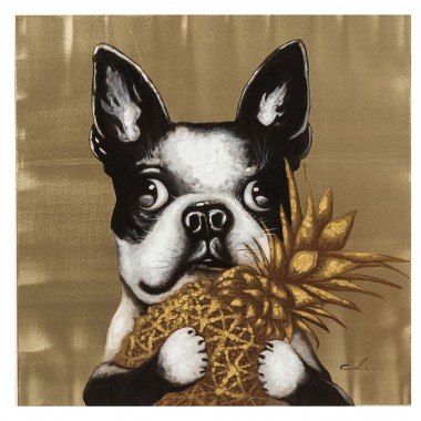 Picture Touched Dog with Pineapple 80x80cm Kare Design