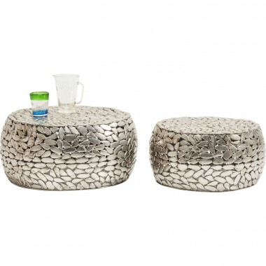 Coffee Table Pebbles Deluxe Silver (2/Set) Kare Design