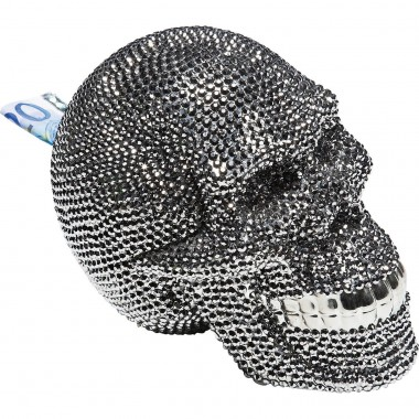 Money Box Skull Crystal Silver Kare Design