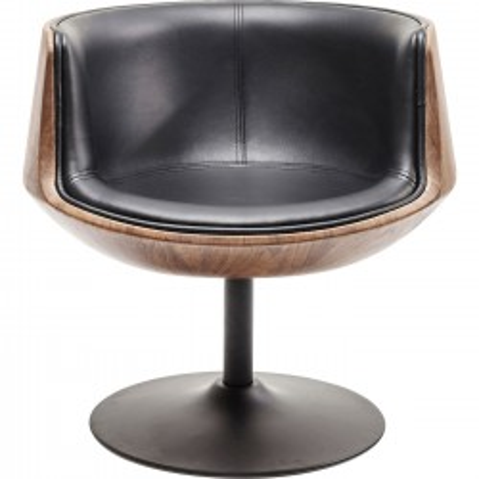 Swivel Armchair Club Walnut Kare Design