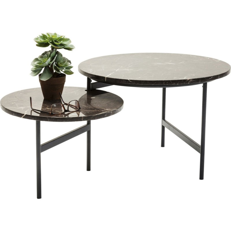 Round Coffee Table In Brown Marble Original Small Side Table