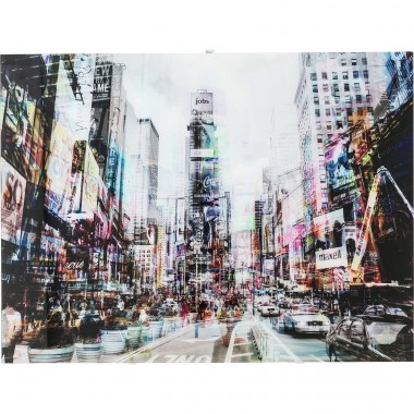 Tableau en verre Times Square Move 120x90cm Kare Design