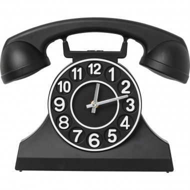 Wall Clock Telephone Black Kare Design