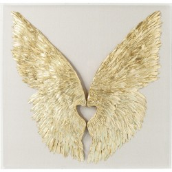 Wall Decoration Wings Gold White 120x120cm Kare Design