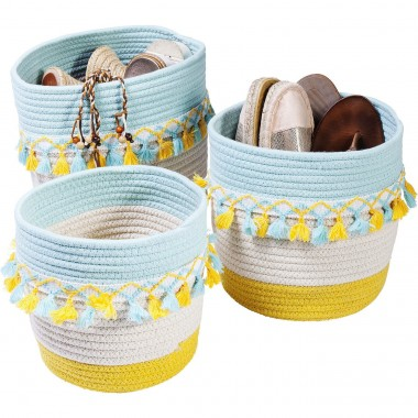 Basket Storage Fringes Yellow-Light Blue (3/Set) Kare Design