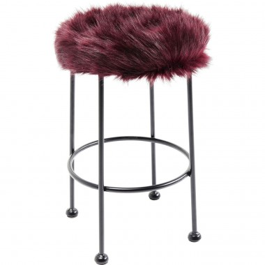 Stool Ontario Fur Dark Red Ø30cm Kare Design