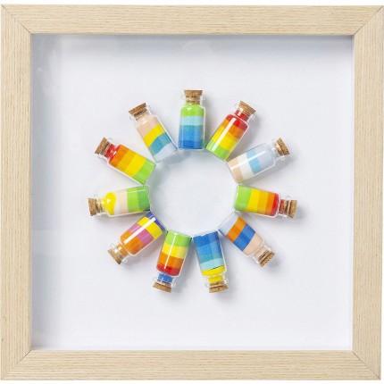 Tableau 3D ronde de fioles multicolores 31x31cm Kare Design