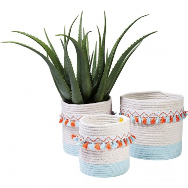 Basket Storage Fringes Orange-Light Blue (3/Set) Kare Design