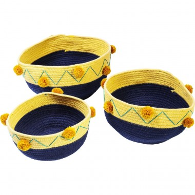 Basket Storage Pompon Blue (3/Set) Kare Design