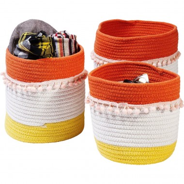 Basket Storage Fringes Orange-White (3/Set) Kare Design