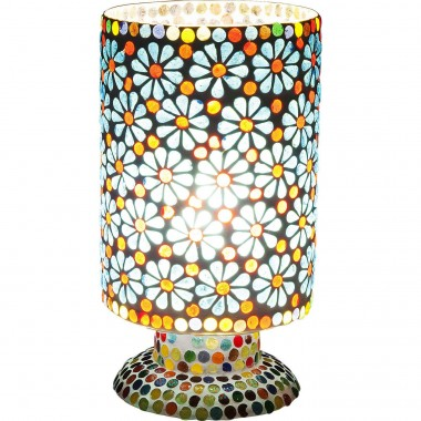 Table Lamp Mosaic Flowers Light Blue 23cm Kare Design