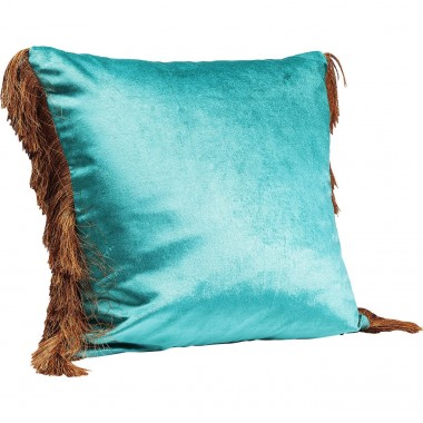 Coussin Fringes turquoise 45x45cm