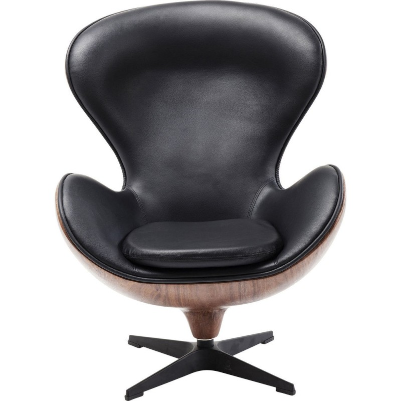 Swivel Chair In Black Leather Lounge Kare Design