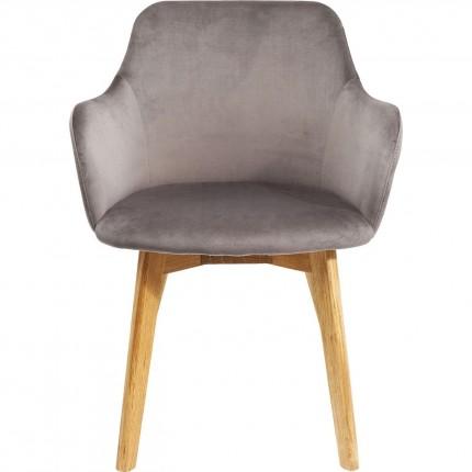 Chair with Armrest Lady Velvet Grey Kare Design