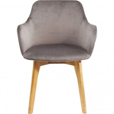 Chair with Armrest Lady Velvet Grey Kare Design