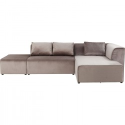 Canapé Infinity Rich velours droite taupe Kare Design