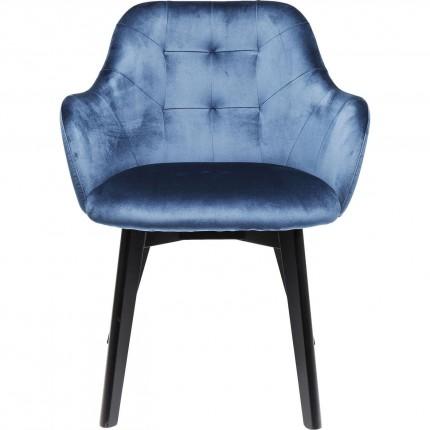 Chair with Armrest Black Lady Velvet Blue Kare Design