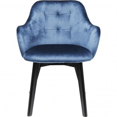 Chair with Armrest Black Lady Velvet Blue Kare Design