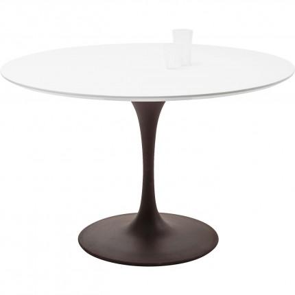 Table Invitation blanche & marron 120cm Kare Design