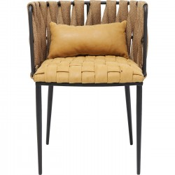 Chair with Armrest Cheerio Yellow incl. Cushion Kare Design