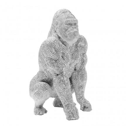 Deco Figurine Shiny Gorilla Silver 46cm Kare Design