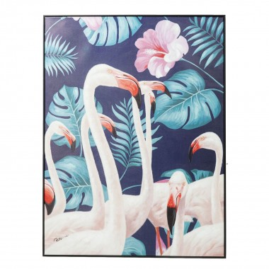 Tableau Touched flamants roses jungle 122x92cm Kare Design