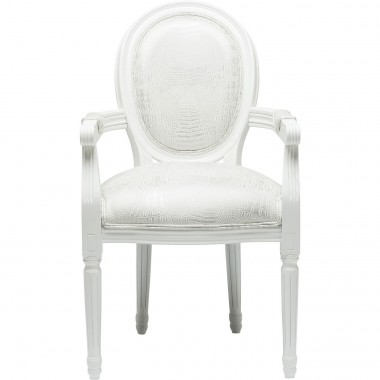 Chair with Armrest Gastro Louis White Croco Kare Design