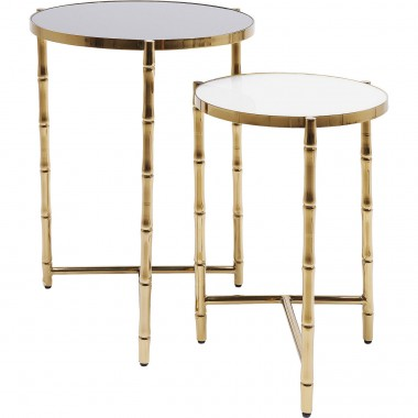 Side Table Hipster Bamboo (2/Set) Kare Design