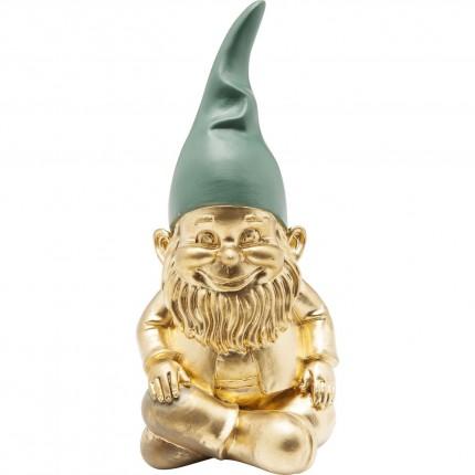 Deco Figurine Zwerg Sitting Gold Green 19cm Kare Design