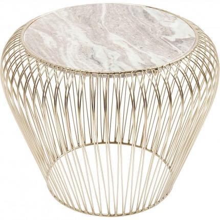 Table d'appoint Beam dorée marbre gris 43cm Kare Design